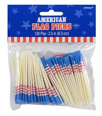 AMERICANA RED WHITE AND BLUE FOOD PICK - USA Party Store