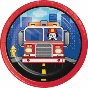 "Flaming Fire Truck 7"" Plates - USA Party Store"