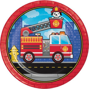"Flaming Fire Truck 9"" Plate - USA Party Store"