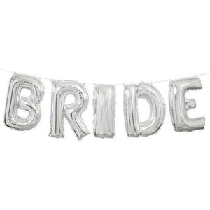 Foil Silver Bride Wedding Letter Balloon Banner Kit - usa-party-store