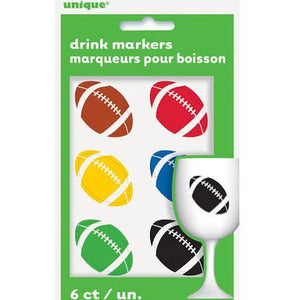 Football Beverage Cling Drink Markers, Assorted Color - 6 Count - USA Party Store