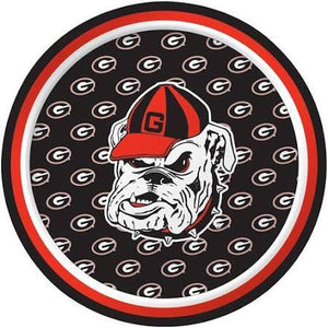 "Georgia Bulldogs Dessert Plates, Round, 7"" - 8 count - USA Party Store"