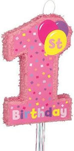 Girl 1st Birthday Pinata - Pull String - usa-party-store