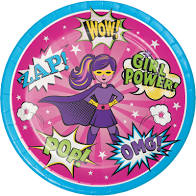 Girls Super Hero Plates 9""