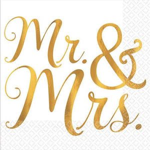 Gold Mr. & Mrs. Beverage Napkins - 2-ply · 16 count - USA Party Store