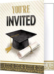 "Graduation Invitations Gold and Silver 5"" x 4"" - USA Party Store"