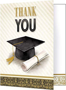 "Classic Graduation Thank You Notes Gold and Silver 5"" x 4"" - USA Party Store"