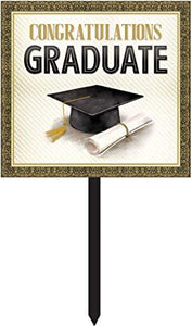 "Graduation Yard Sign  Gold and Silver 15"" x 26"" - USA Party Store"