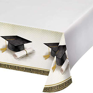 Classic Graduation Plastic Tablecloth  Gold and Silver - usa-party-store