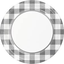 Gray and  White Check Plate 9""