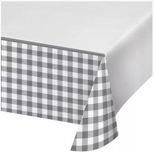 Gray and White Check Tablecover
