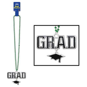 Green Beads w/Grad Medallion - USA Party Store