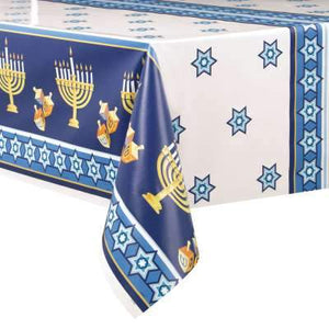 "Happy Hanukkah Rectangular Plastic Table Cover 54""x84"" - USA Party Store"