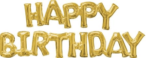 Happy Birthday Gold Phrase Balloon - USA Party Store