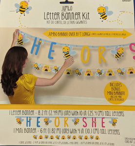 Little Honey Bee Letter Banner with Mini Banner - USA Party Store
