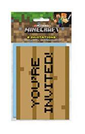 Minecraft Invitation Cards with Envelopes 8 Counts - USA Party Store