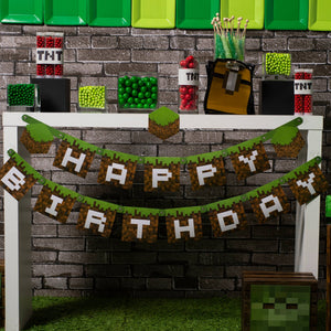 Minecraft Happy Birthday Jointed  Banner - USA Party Store