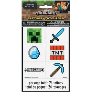Minecraft Temporary Tattoos  24 counts - USA Party Store