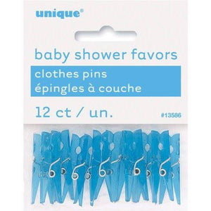 "Mini Plastic Clothespin Baby Shower Favor Charms, 1.25"", Blue - 12 count - USA Party Store"