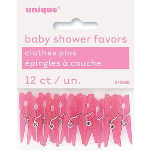 Mini Plastic Pink Clothespin Baby Shower Favor Charms, 12-Count - USA Party Store