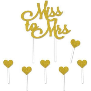 Miss to Mrs Cake Topper, Gold - USA Party Store