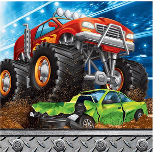 MONSTER TRUCK RALLY BEVERAGE NAPKINS, 16 CT - USA Party Store
