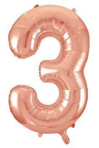 "34"" Large Foil Number Balloons - Rose Gold - USA Party Store"