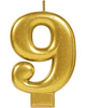 "Birthday Celebration, Numeral  Metallic Candle, Party Supplies, Gold, 3 1/4""  0-9 - USA Party Store"