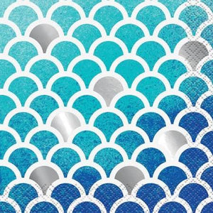 Ocean Blue Scallop Print Beverage Napkins, 16ct - usa-party-store