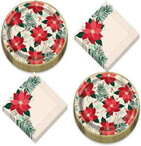 Red & Gold Poinsettia Lunch Napkin - USA Party Store