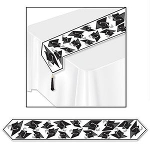 Black and White Printed Grad Cap Table Runner - USA Party Store