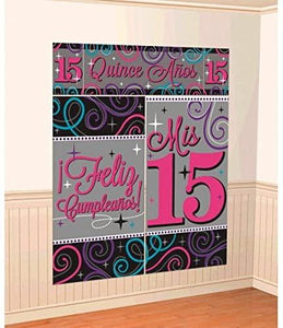 "Quinceanera Scene Setters - (5 Pack), Pink/Gray, 59"" x 65"". - USA Party Store"