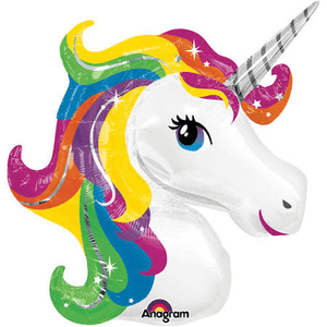 Rainbow Unicorn Super Shape Foil Balloon - USA Party Store