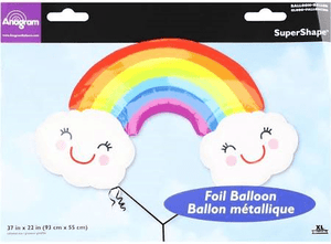 "Rainbow with Clouds 37"" Mylar Foil Balloon - USA Party Store"