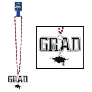 Red Beads With Grad Medallion - USA Party Store