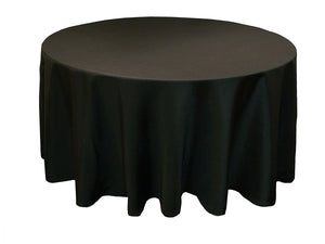 "Rental - Round  Polyester Tablecloth 108"" - Black - USA Party Store"