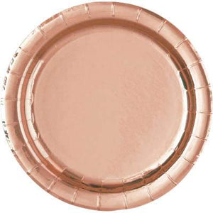"Rose Gold Foil Round 7"" Dessert Plates 8ct - Foil Board - USA Party Store"