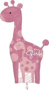 Safari Baby Girl Giraffe Super Shape - USA Party Store