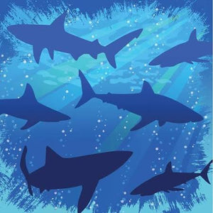 Shark Splash Beverage Napkins - 3 ply 16 count - USA Party Store