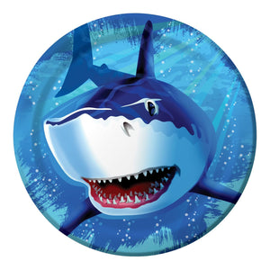 Shark Splash Dinner Plate, 9'', 8 Count, Blue - USA Party Store