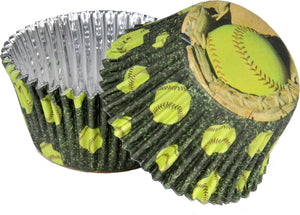 SoftBall Cupcake Papers - USA Party Store