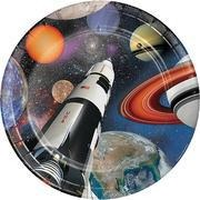 "Space Blast 9"" Plates 8ct - USA Party Store"
