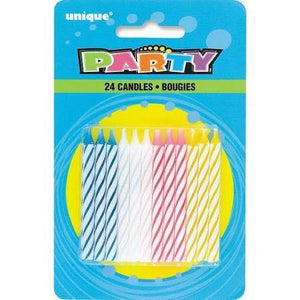 Spiral Birthday Candles, Multi-Colored - 24 pack - USA Party Store