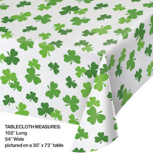 "Add our Shamrock Rectangle Plastic Tablecover to your lucky parties. Each tablecover features a white background with an all over green shamrock design. Measures 54"" wide x 102"" long"