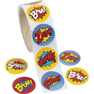 Super hero Sticker Roll - 100 Pieces - USA Party Store