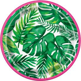 Palm Tropical Luau Paper Plates, 7in, 8ct - USA Party Store