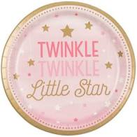 "Twinkle  Little Star Pink  Plate 9"" - USA Party Store"