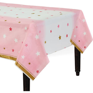 Twinkle Little Star Pink Tablecover - USA Party Store