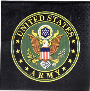 US Army Luncheon Napkins - 3-ply, 16-Pack - USA Party Store