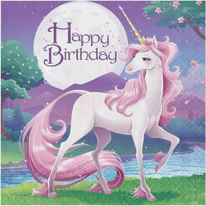 Unicorn Fantasy Happy Birthday Lunch Napkins 2 ply 16 count - USA Party Store